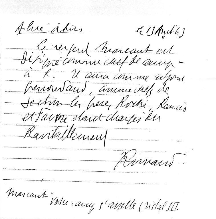 Nomination de Pierre MARCAULT par le Capitaine ROMANS (il signe ROMAND) comme chef de Camp, codé CRISTAL III. Note manuscrite du 13/08/43, source : Pi